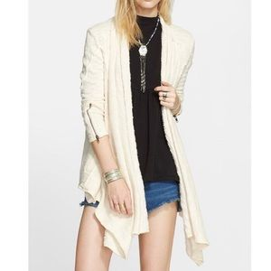 Free People In The Loop Cream Open Front Cardigan